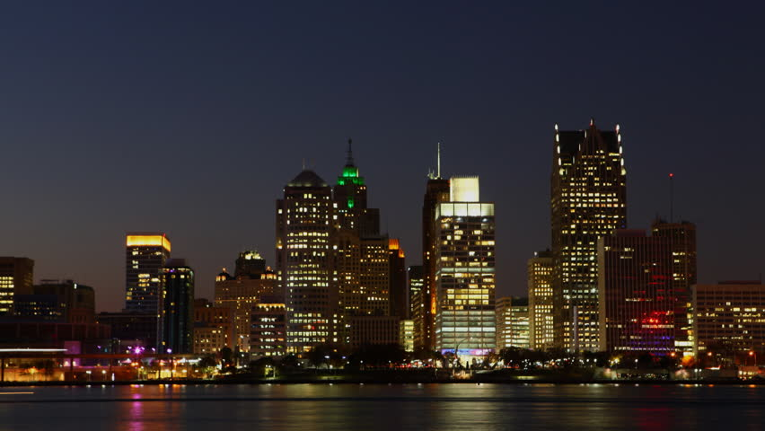 Timelapse of the Detroit, Michigan skyline at night