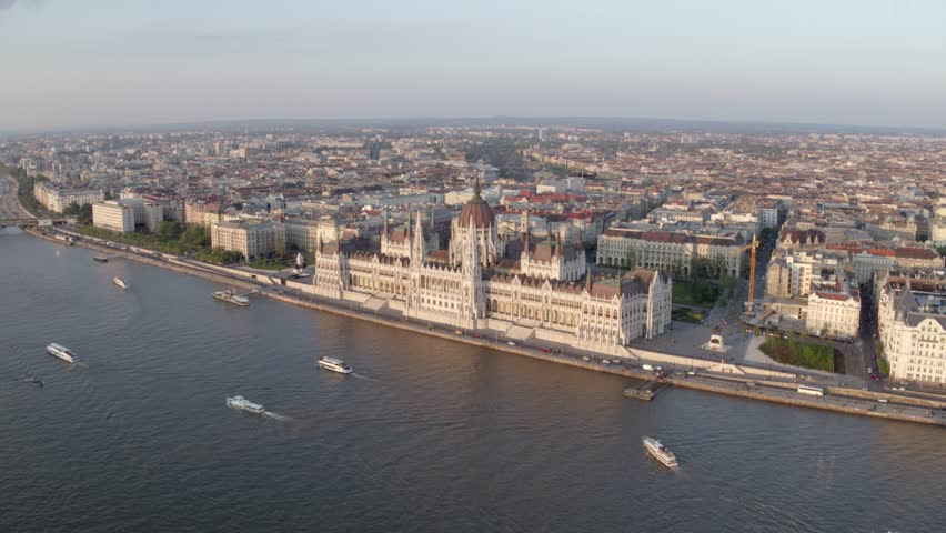 Budapest Parliament in sunset - aerial video | Shutterstock HD Video #26519171