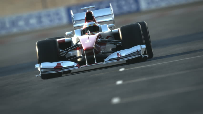 Formula One race car on desert circuit - finish line - high quality 3d animation - visit our portfolio for more #2652581