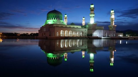 Timelapse - Masjid Bandaraya Likas or known as Likas Mosque is located in Sabah. View during sunrise