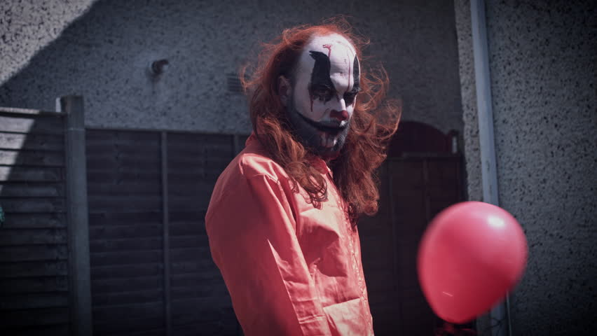 4k Halloween Horror Clown Man with Balloon