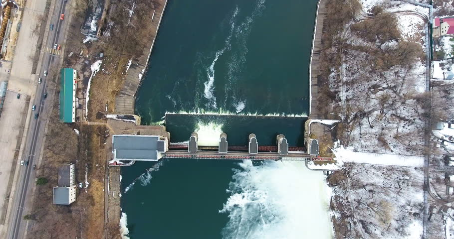 Water release from dam. Aerial view from copter, drone. #26564804