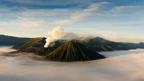4K Timelapse of Bromo volcano at sunrise, East Java, Indonesia, Bromo volcano at sunrise,Tengger Semeru national park
