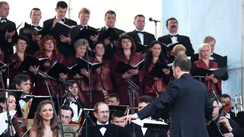 VINNITSA, UKRAINE - MAY 9, 2012: Lviv Symphony Orchestra played on the open stage at the celebration of the Victory Day May 9, 2012 in Vinnitsa, Ukraine