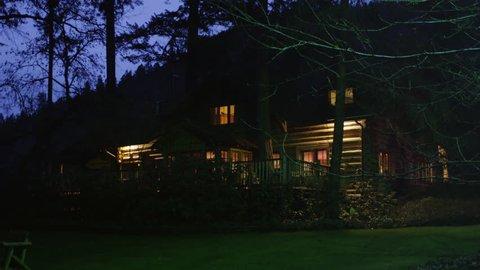 Rustic lodge at night near Grants Pass, Oregon