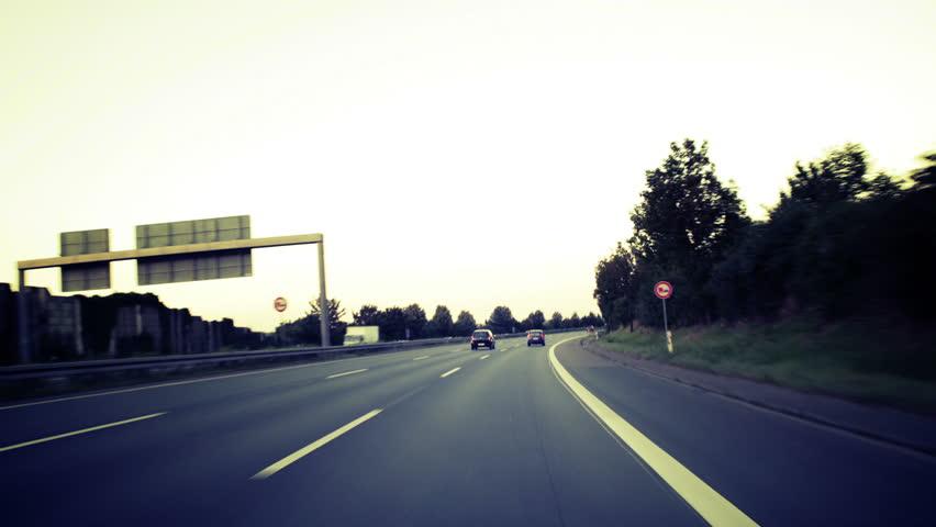 Time-lapse of german motorway - cross processed. Wiesbaden - Frankfurt Airport, motorway A66 and A3 | Shutterstock HD Video #2659901