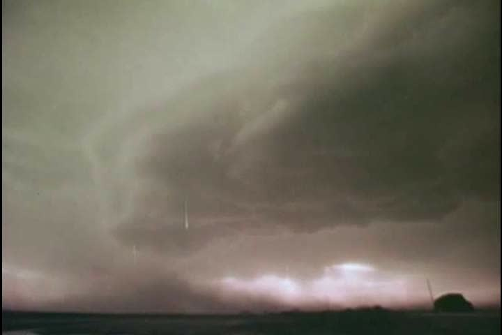 1970s: Thunderstorms that look like tornadoes are shown, in 1977.