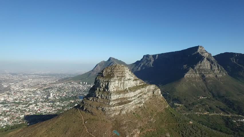Table Mountain, Lions Head, Capetown, South Africa aerial