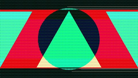 Flat and big shapes with a 8 bit retro style pass by the camera in a  seamless motion  strong colors and glitch effects  get style with this  visuals  a lot of little details, the piece can be zoomed