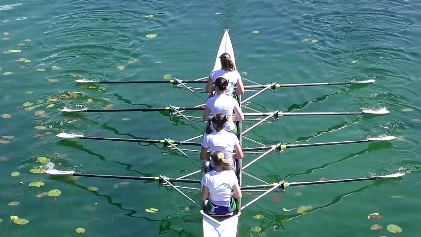 Four women rowing on the tranquil lake, full hd, slow motion video  #26637391