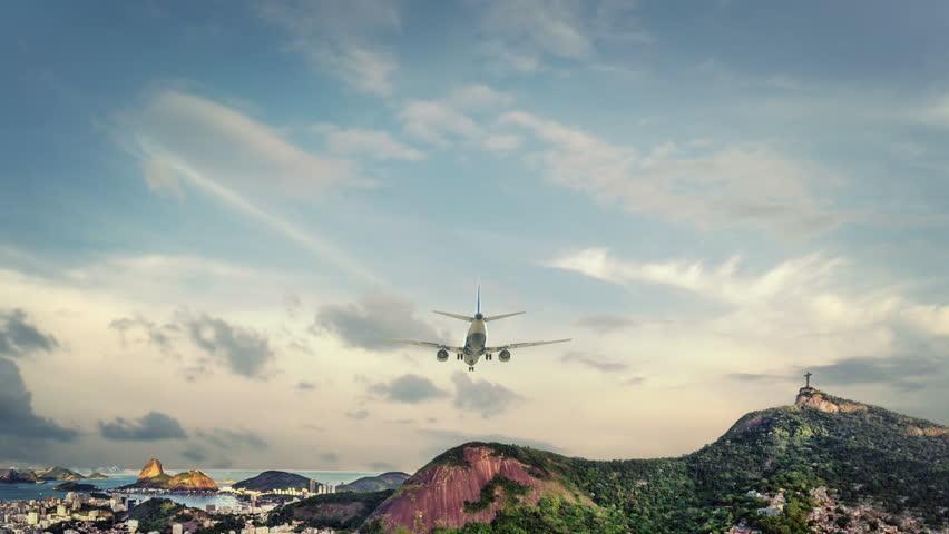 Airplane Landing Rio De Janeyro Brazil