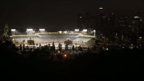 LOS ANGELES, CA.-April 28, 2017.  Time Lapse of Dodger Stadium as it Gets Ready for Another Night of Baseball.