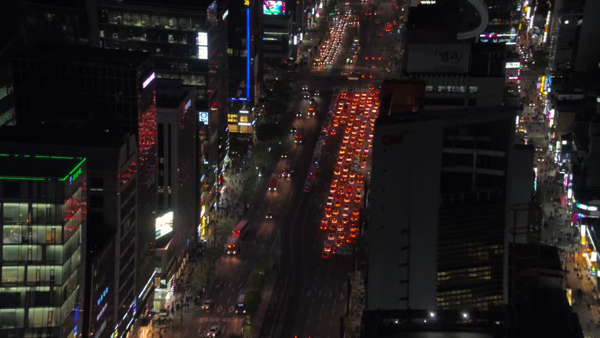 Aerial Korea Seoul April 2017 Gangnam Night | Shutterstock HD Video #26698111