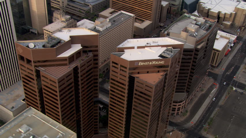 Orbiting above downtown Phoenix skyscrapers. Shot in 2007. | Shutterstock HD Video #26707681