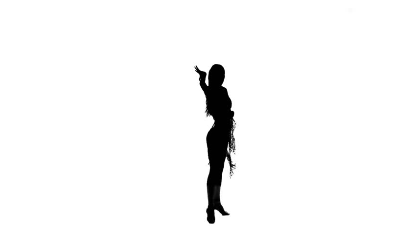 Gymnast Girl Figure Isolated On White Background Black Silhouette Of Gymnastic Woman -5133