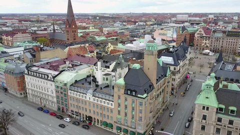 Beautiful aerial Malmo city view in Sweden with Savoy hotel, cathedral in the middle and the city center