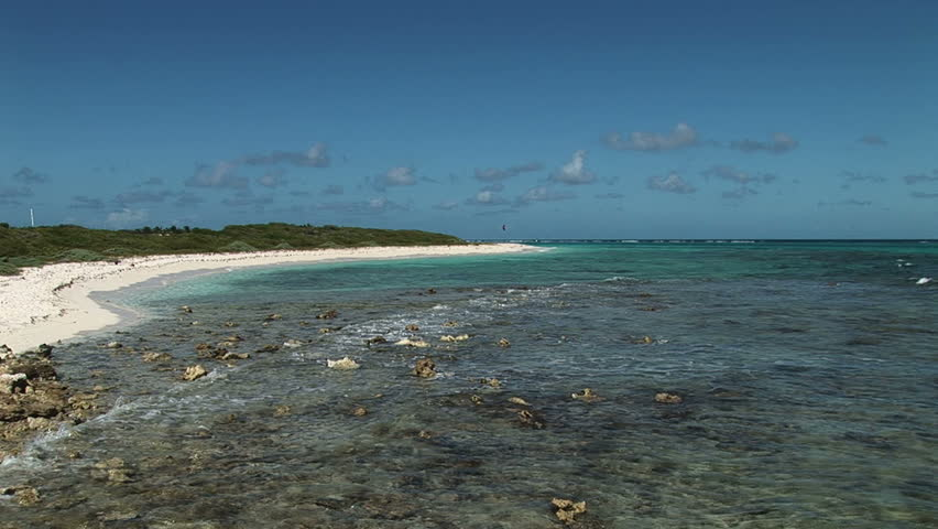 Panorama of clear water at Anquila Beach, Saint Martin