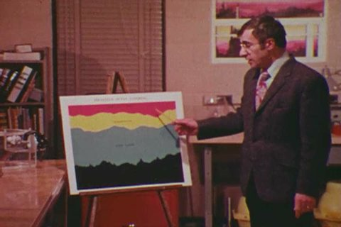 1970s: Yale's Dr. George Veronis uses a scale model map of the world to show the direction of oceanic currents and how they affect different parts of the globe in 1975.