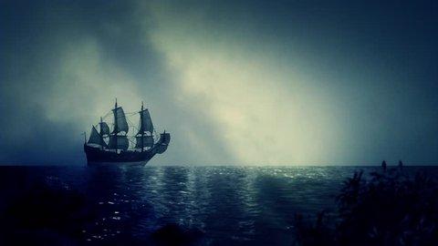Christopher Columbus Santa Maria Sailing Ship Docking Close to Shore
