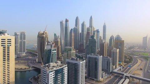 skyscrapers of dubai aerial top view