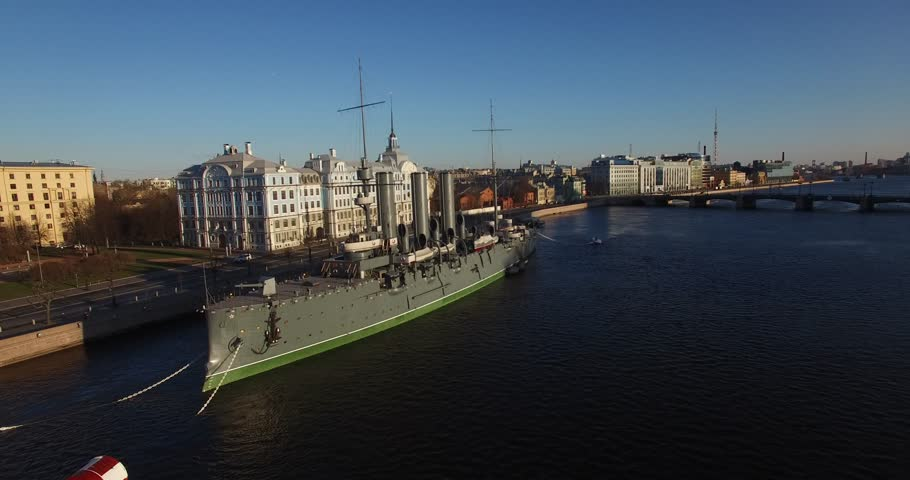 Aerial drone video with view of beautiful vintage architecture of St.-Petersburg, views of Neva River, old military cruiser, Finnish Bay and surroundings of the northern capital of Russia