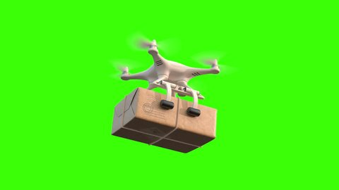 Quadcopter delivers package, seamless looping 3d animation on a white black and green background, 4K