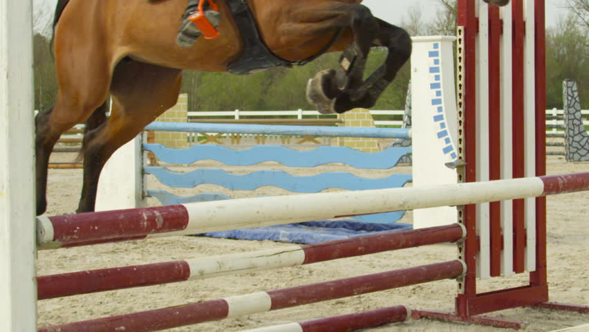 SLOW MOTION, CLOSE UP: Detail of horse legs jumping over colorful poles in outdoor riding arena. Dark brown stallion exercising fort stadium show jumping. Mare jumping over the poles in sandy manege