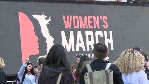 Women's March LA, Wide. Giant LCD billboard at the Women's March in Los Angeles, California on January 21st, 2017, the day after Donald Trump's presidential inauguration.
