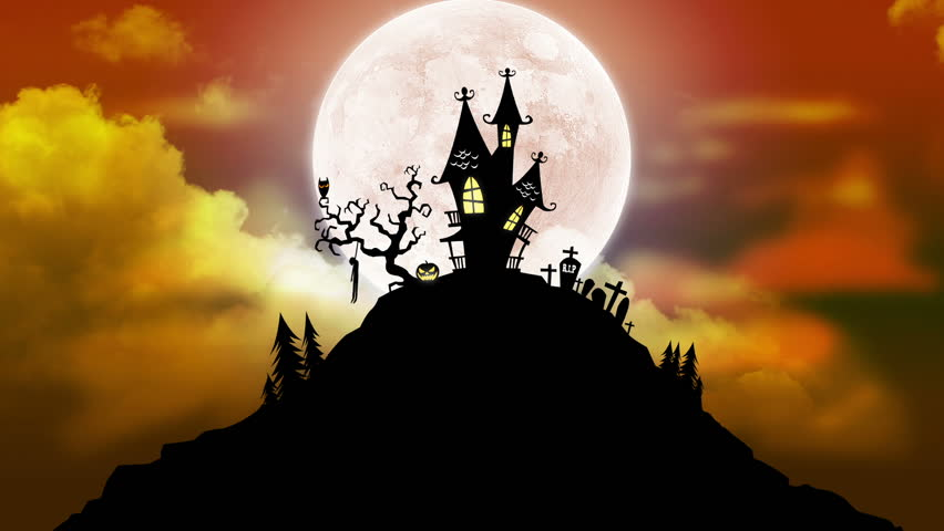 A spooky background of a haunted house with a full moon in - Scary animated backgrounds ...