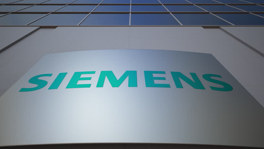 Outdoor signage board with Siemens logo. Modern office building. Editorial 3D rendering | Shutterstock HD Video #26850121