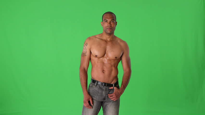 Shirtless muscular man posing
