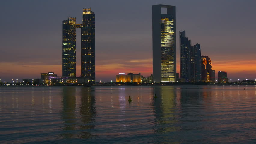 Sunset abu dhabi marina famous corniche bay famous panorama 4k uae | Shutterstock HD Video #26869771