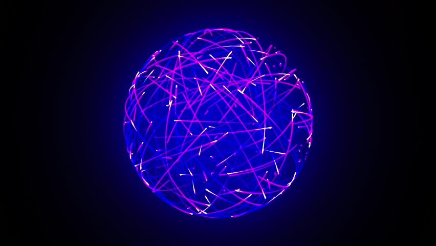 Abstract neon ball made from lines - HD stock video clip