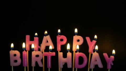 Footage Colorful Burning Candles Set On Black Background Happy Birthday
