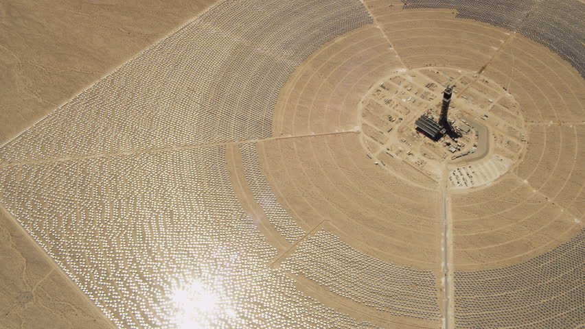 Orbiting a power tower in Ivanpah Solar Electrical Generating System on California's Mojave Desert. Shot in June 2013.
