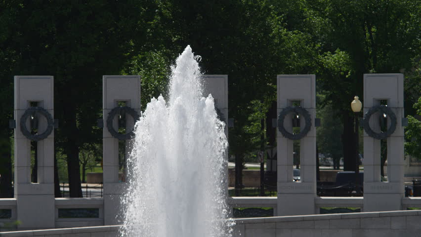 Slow-motion fountain at the World War II Memorial, Washington DC. Shot in May 2012.