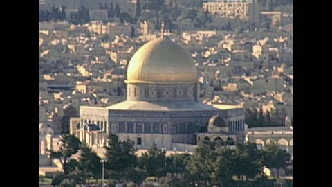 Close up of the Dome of the Rock of Islamic shrine on the Temple Mount in the Old City of Jerusalem on 80s in Israel. Also called Qubbat As-Sakhrah. Historic restored footage on 1980s.