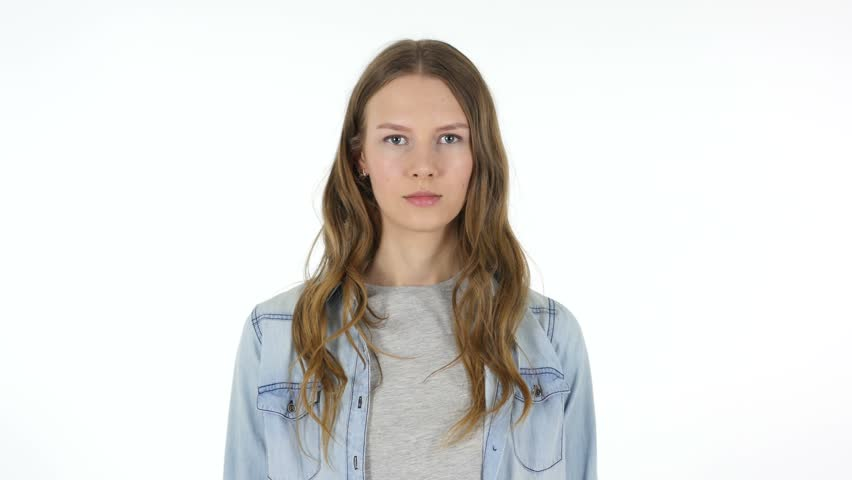 Portrait of Young Woman, White Background | Shutterstock HD Video #26977201