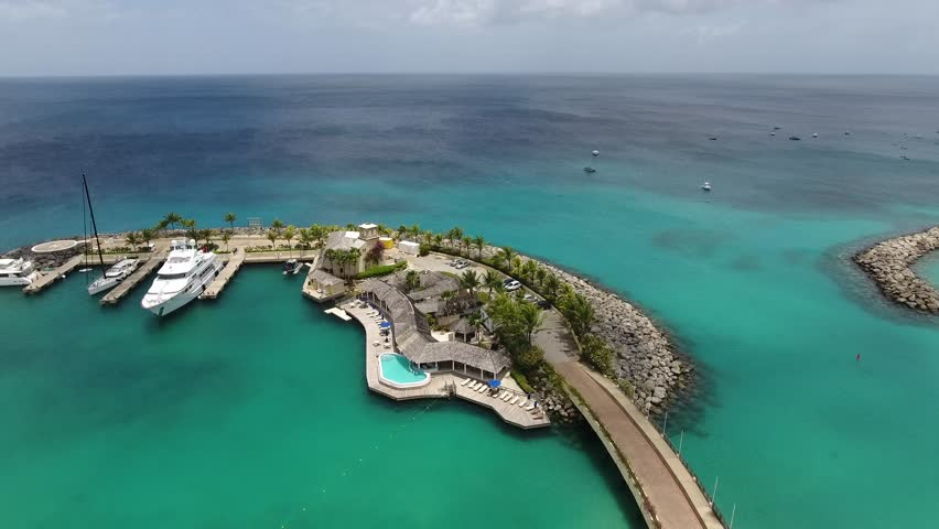 luxury Harbor for Yachts, boats and ships skyview - White Sand Beaches on Vacation Island for Holiday Summer Travel - Bridgetown: 19 May 2017