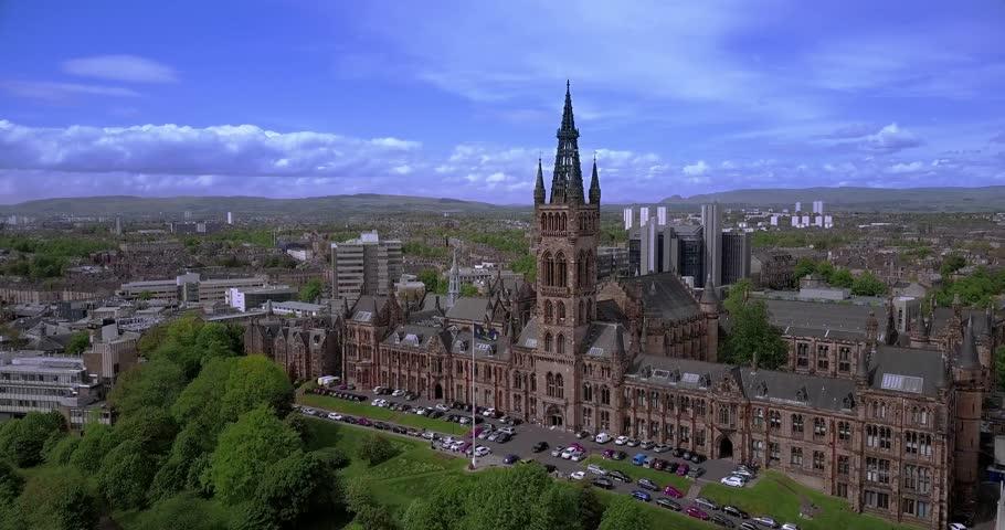 Aerial 4K views of Glasgow University, Scotland, UK.
