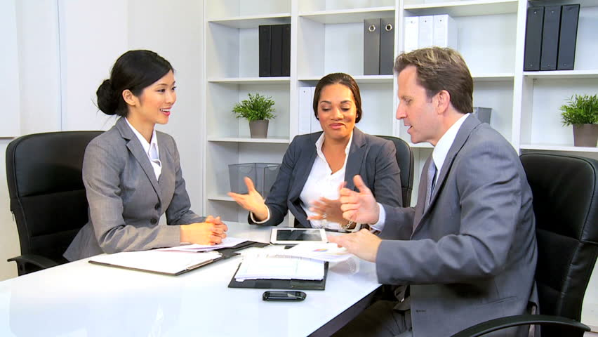 Smart female African American business executive discussing successful contract multi ethnic colleagues | Shutterstock HD Video #2700911