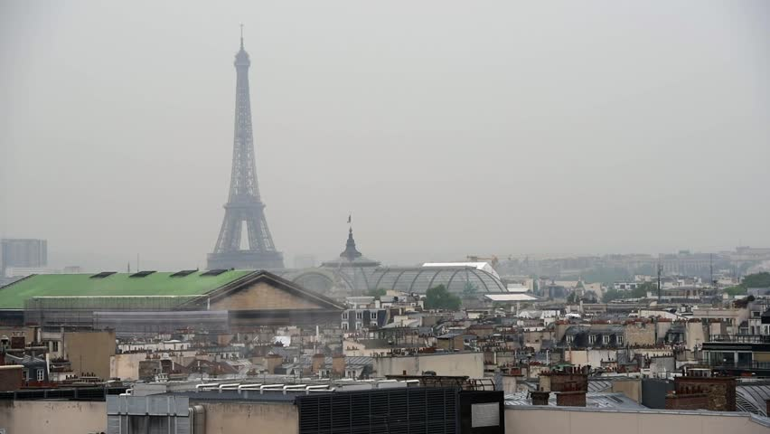 Raining day in Paris. Panoramic view of Paris with Eiffel tower | Shutterstock HD Video #27018331