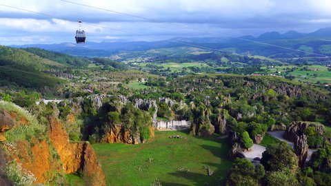 A cable car in Cabarceno Natural Park, Pisuena Valley, Municipality of Penagos, Cantabria, Spain, Europe
