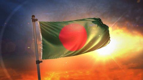 Bangladesh Flag Backlit At Beautiful Sunrise Loop Slow Motion 3D Rendering 4K