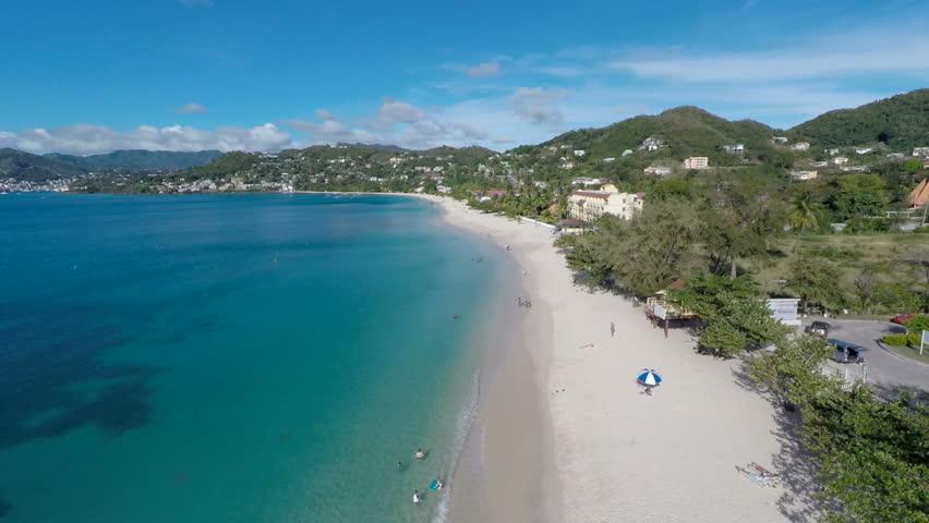 Aerial drone of beach in Grenada