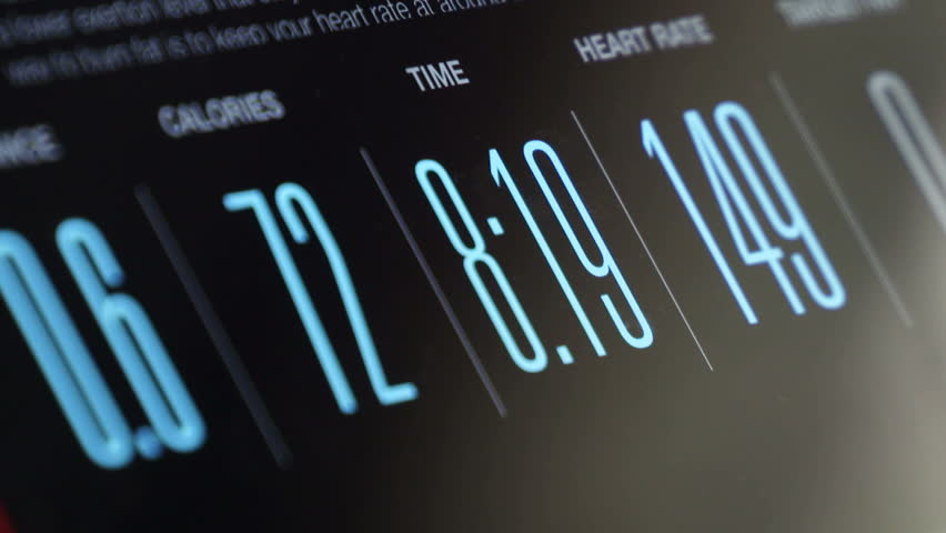 Fitness App displaying exercise data on tablet screen timelapse.