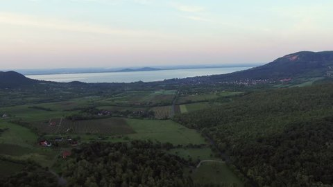 Aerial view of the Kali basin and the Balaton Lake in Hungary