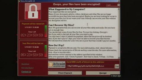 Toronto, Ontario, Canada May 2017 Wannacry computer malware and ransomware hacking attack