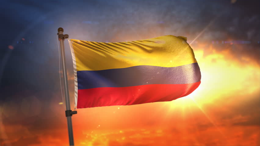 Colombia Flag Backlit At Beautiful Sunrise Loop Slow Motion 3D Rendering 4K