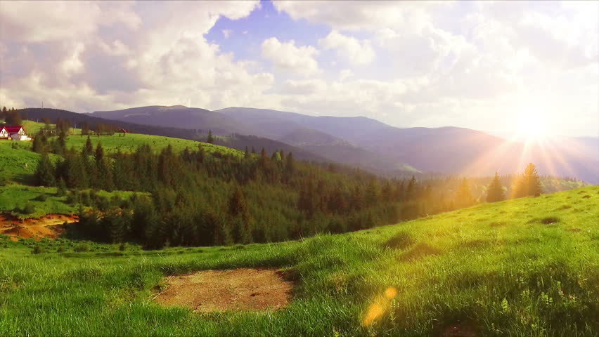 Aerial Drone Footage View: Flying from the forest over spring mountains, hills and meadows with pine forests in sun soft light. Fly out. Carpathian Mountains, Romania, Europe. Beautiful landscape. | Shutterstock HD Video #27132121